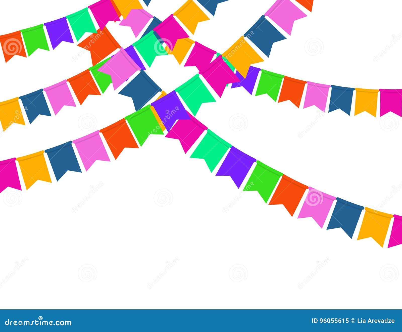 Guirlande des drapeaux de partie de couleur d isolement sur le fond blanc