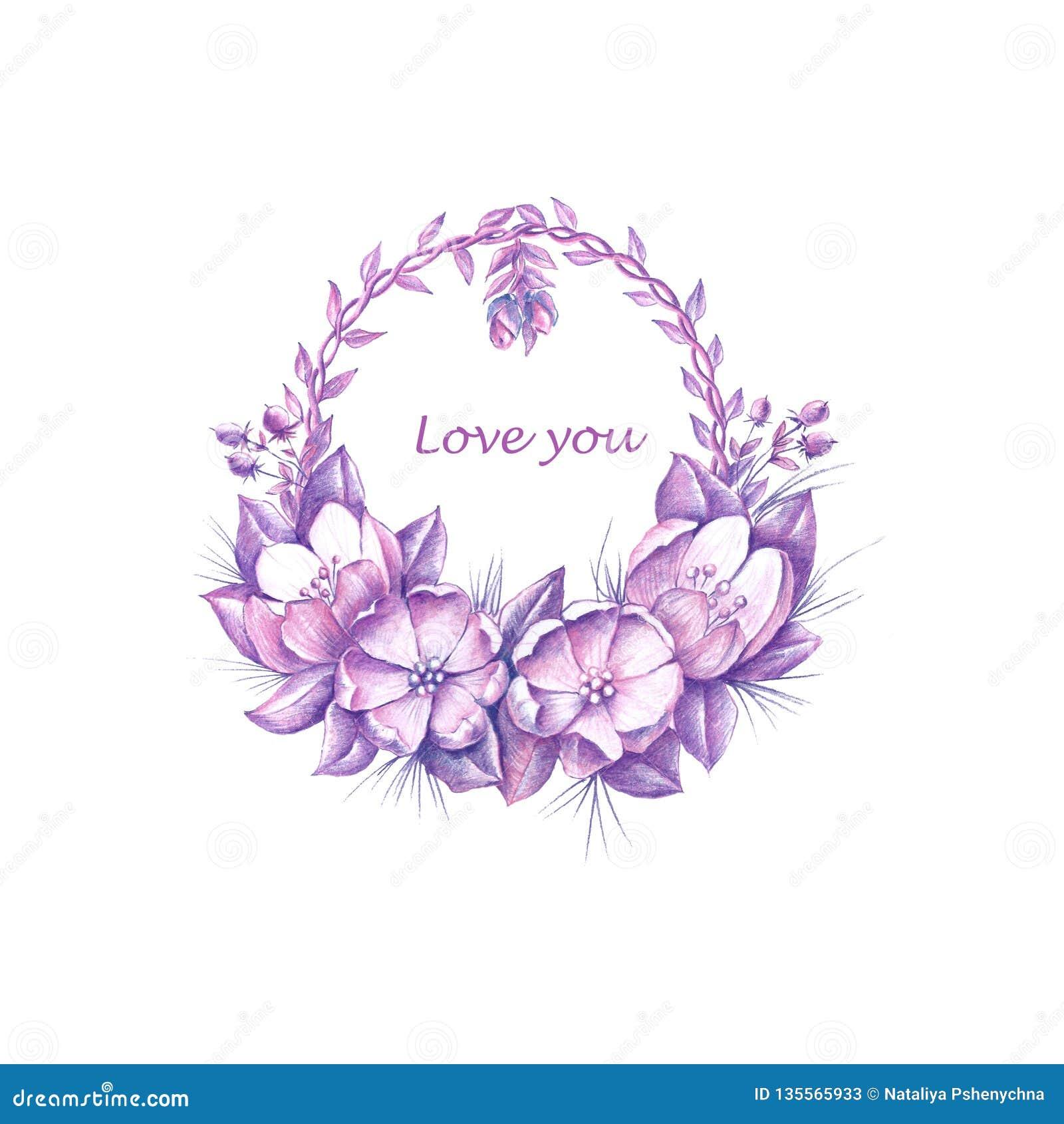 Guirlande florale d aquarelle pour le jour de ValentinÂ