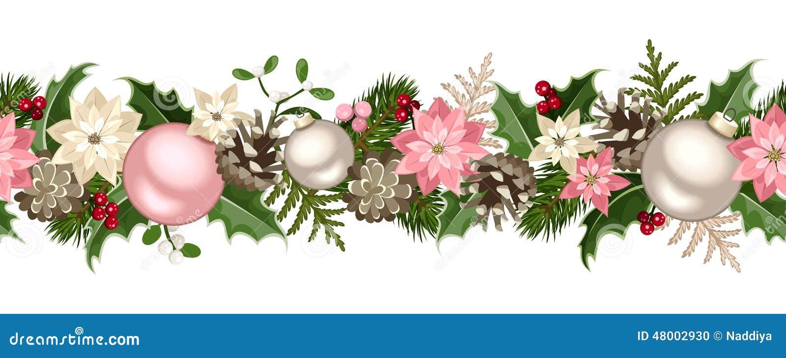 Guirlande sans couture de no l avec des branches de sapin des boules de rose et d 39 argent houx - Guirlande sapin de noel ...