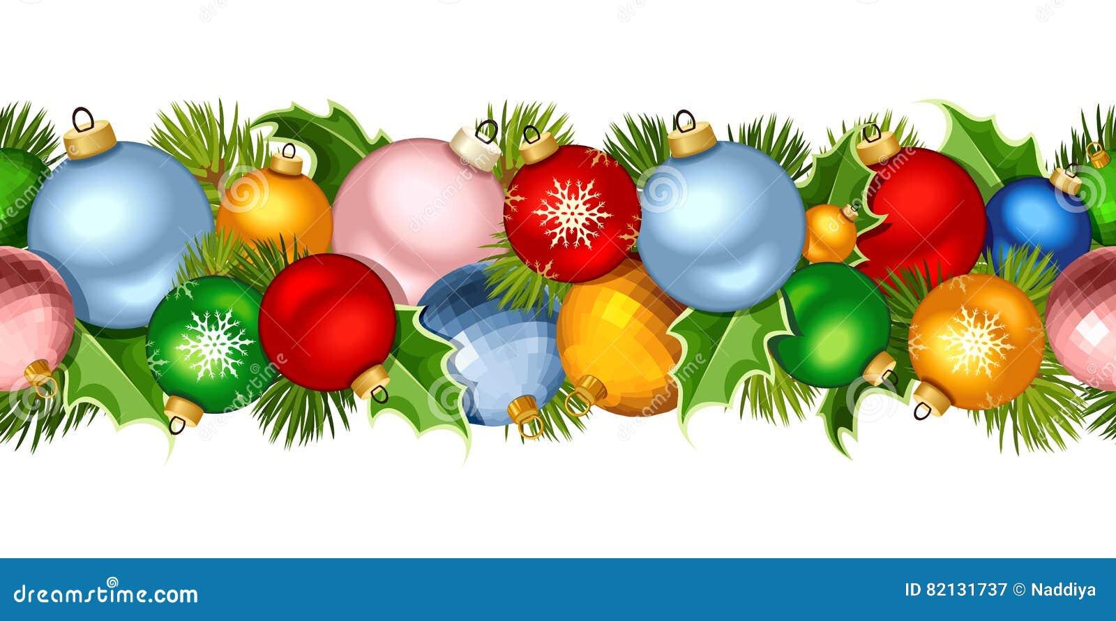 guirlande sans couture horizontale de nol avec les boules colores illustration de vecteur - Guirlande Boules Colores
