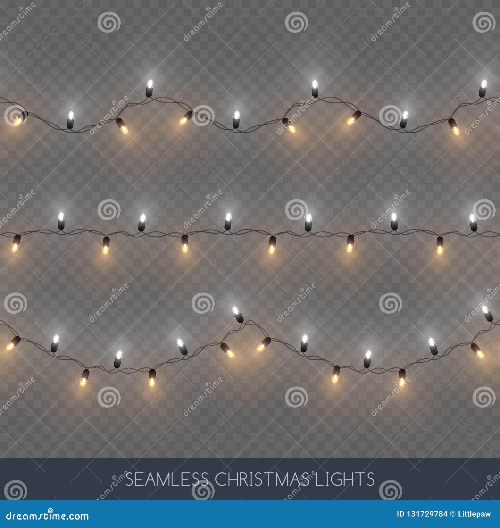 Guirlandes décoratives sans couture ensemble, décoration de Noël, illustration d ampoule de couleur de ruban et d or de vecteur
