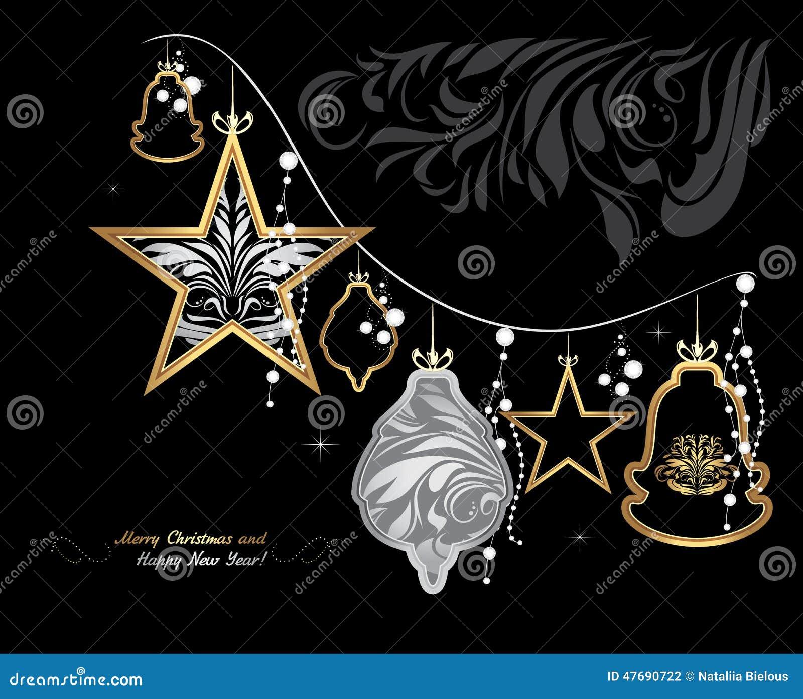 Guirnalda brillante de la navidad en fondo negro tarjeta - Guirnalda de navidad ...