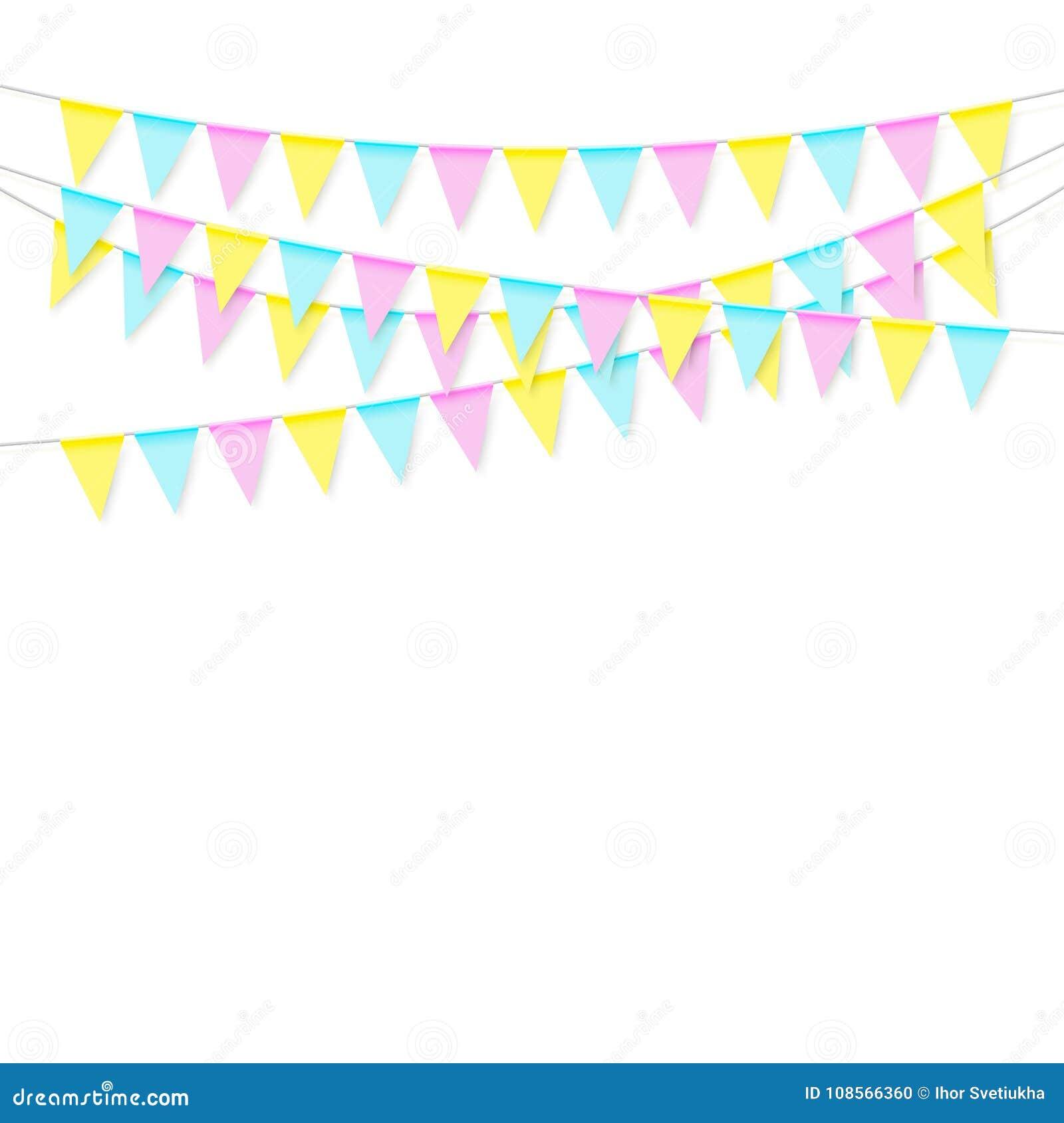 Guirnalda colorida suave realista colorida de la bandera con la sombra Celebre la bandera, banderas del partido Vector