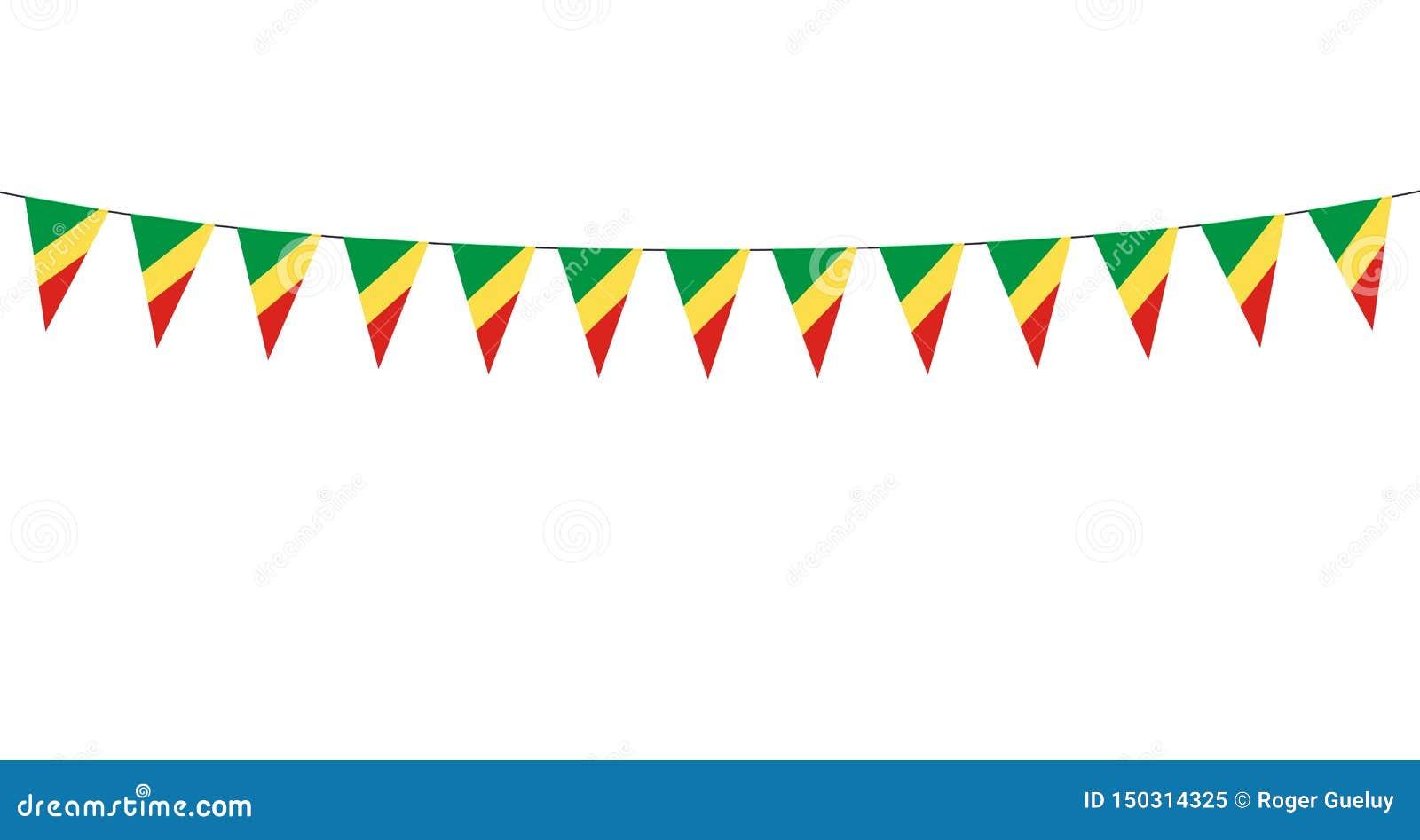 Guirnalda con los banderines de la república de Congo en el fondo blanco
