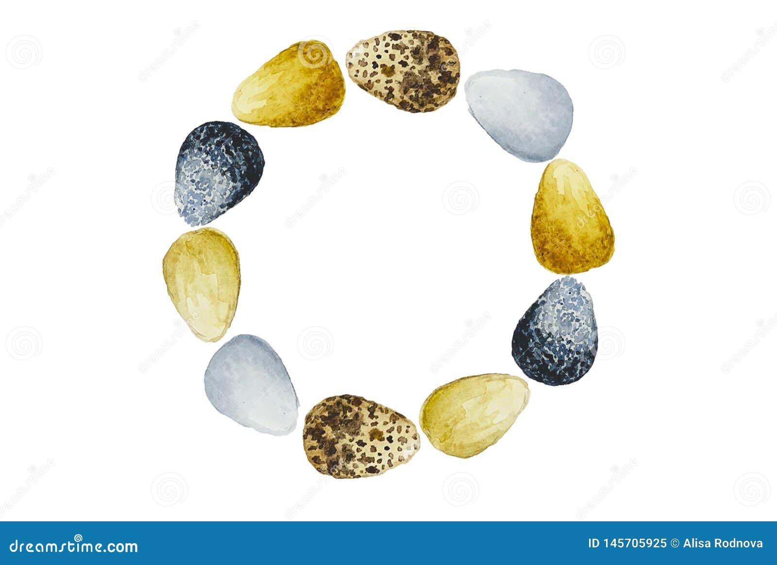 Guirnalda con los huevos de Pascua en el fondo blanco
