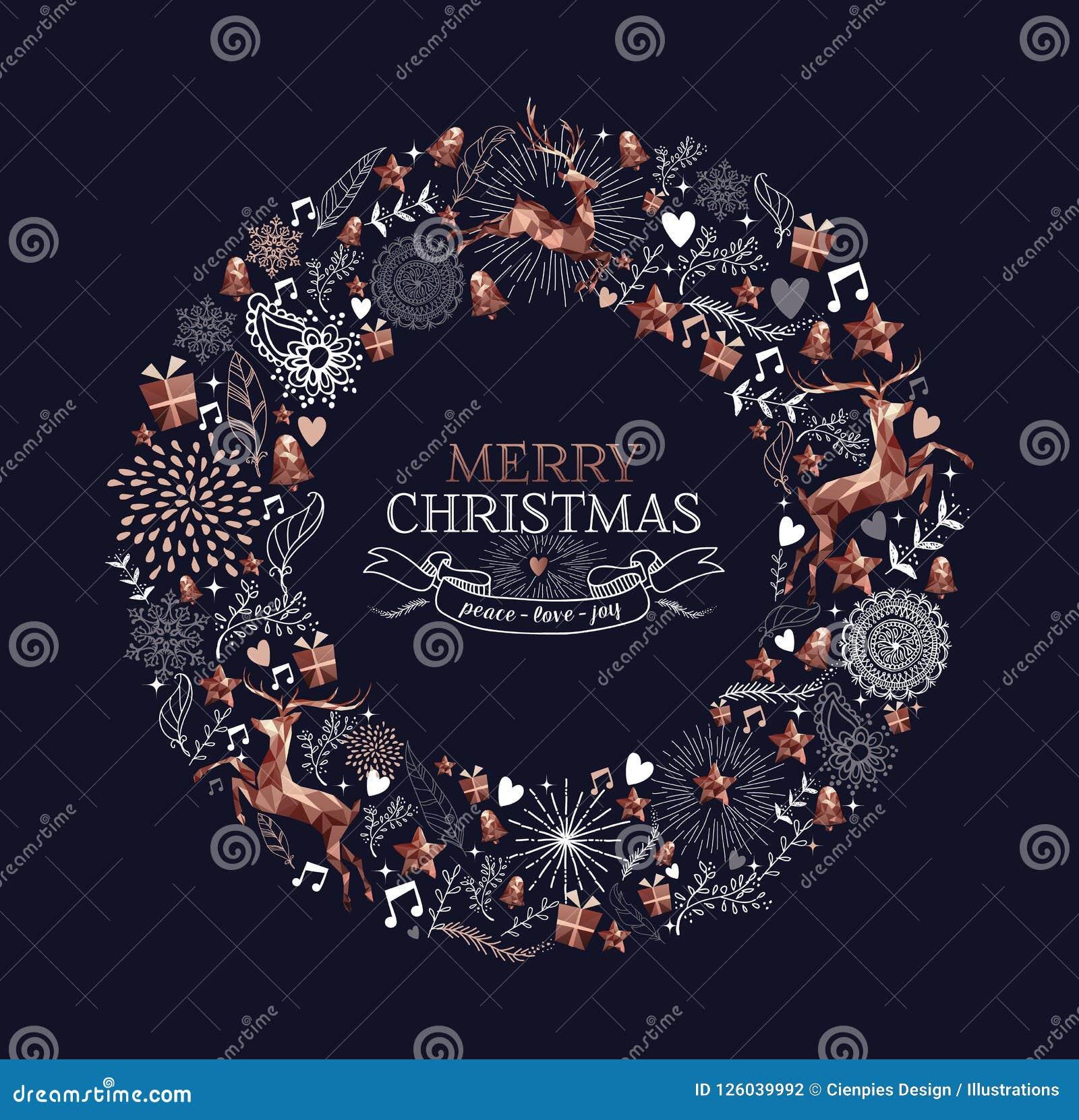 Guirnalda de la decoración de los ciervos del cobre de la Feliz Navidad