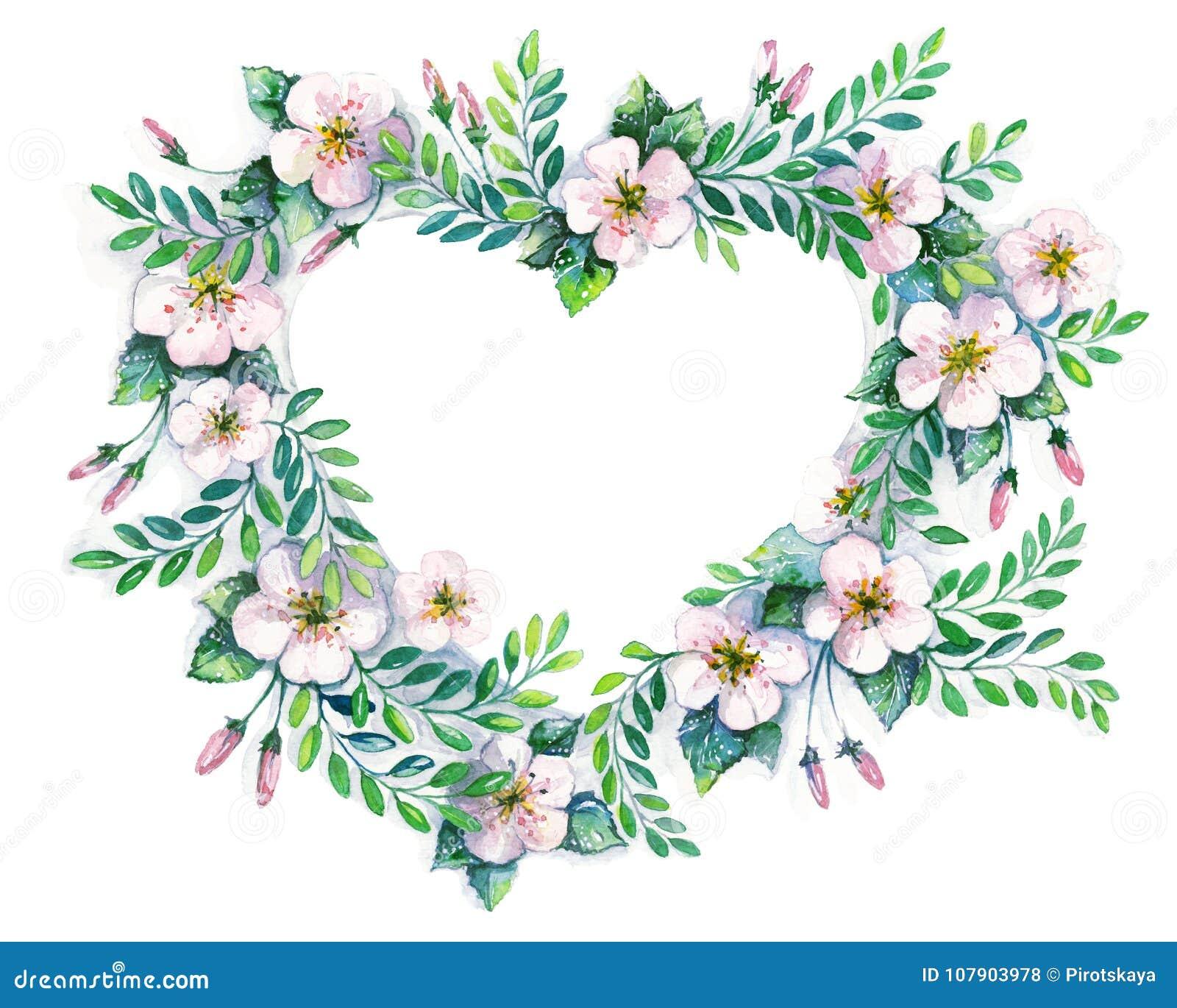 Guirnalda de la flor en un estilo de la acuarela aislada en forma de corazón