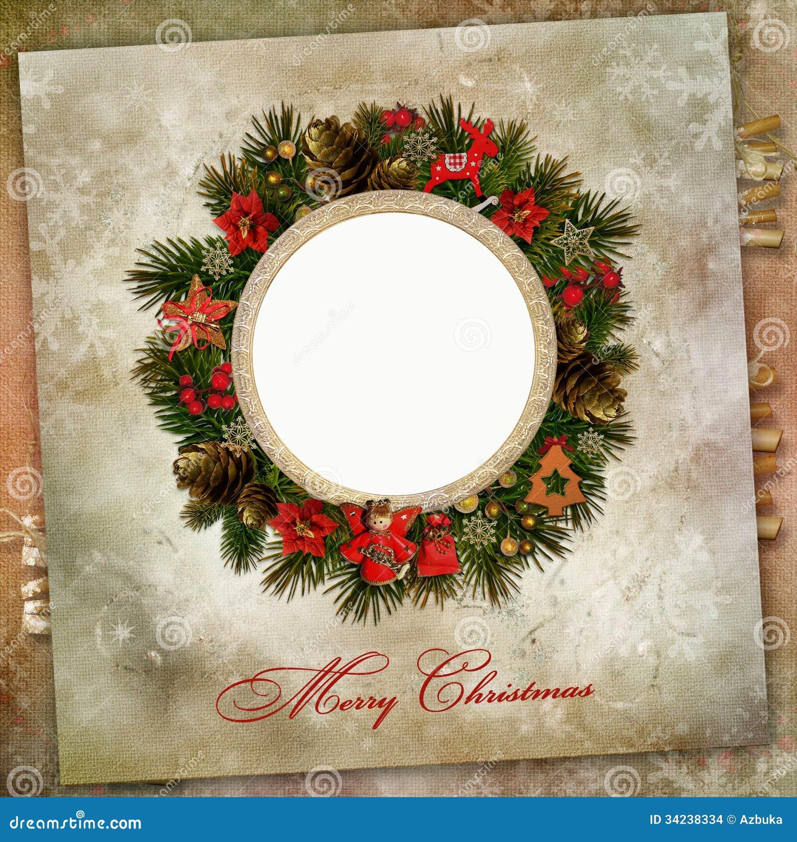 Guirnalda de la navidad con la decoraci n en un fondo del - Decoracion navidad vintage ...