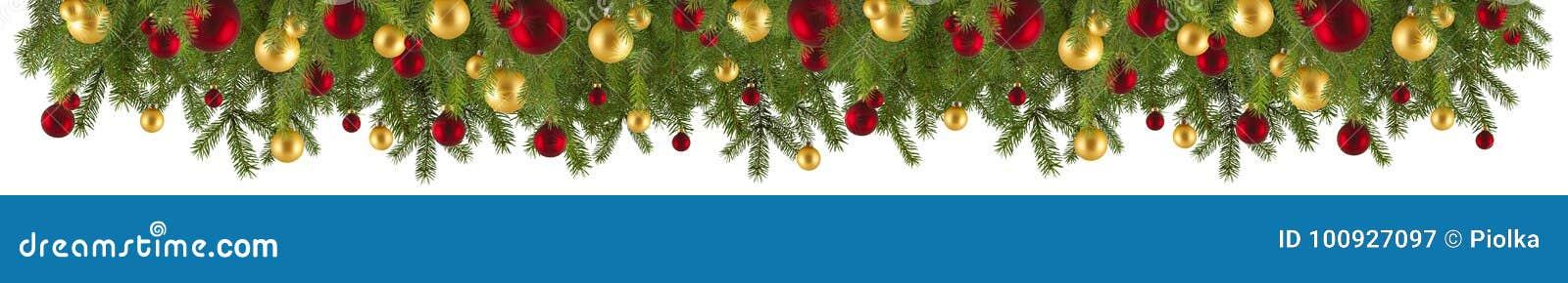 Guirnalda de la Navidad con los ornamentos y las ramas del abeto