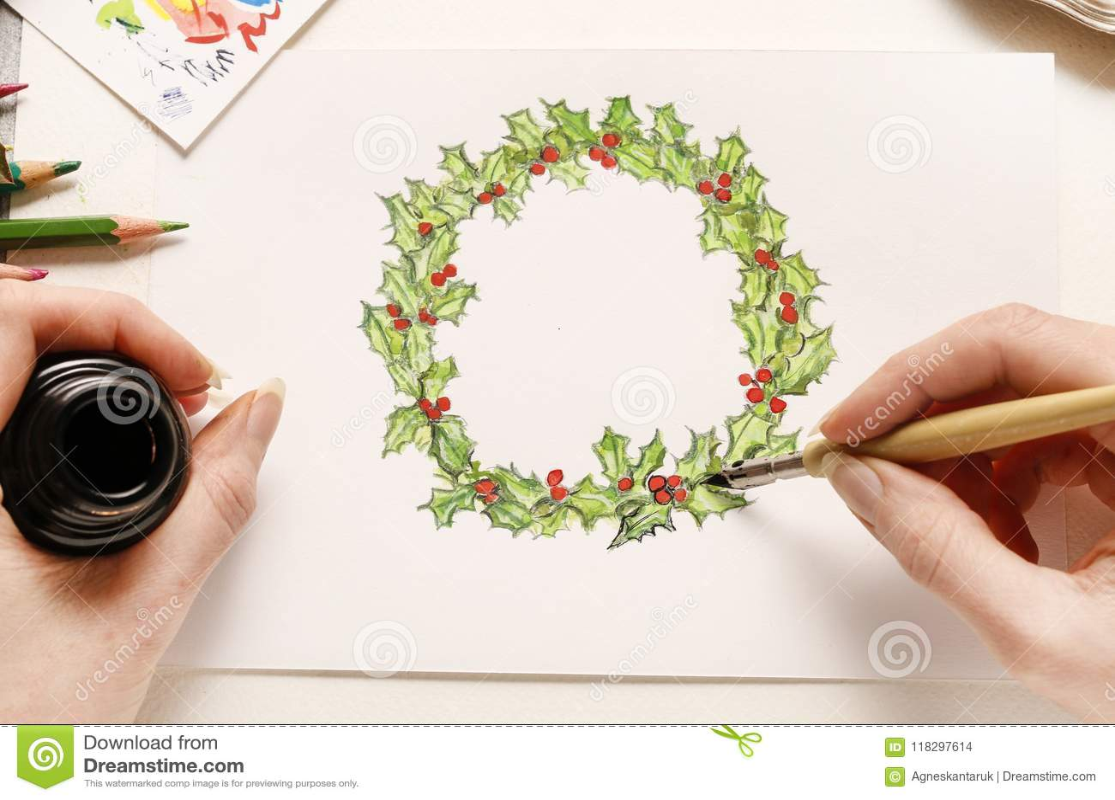 Guirnalda De La Navidad Del Dibujo De La Mujer Paso A Paso Foto De