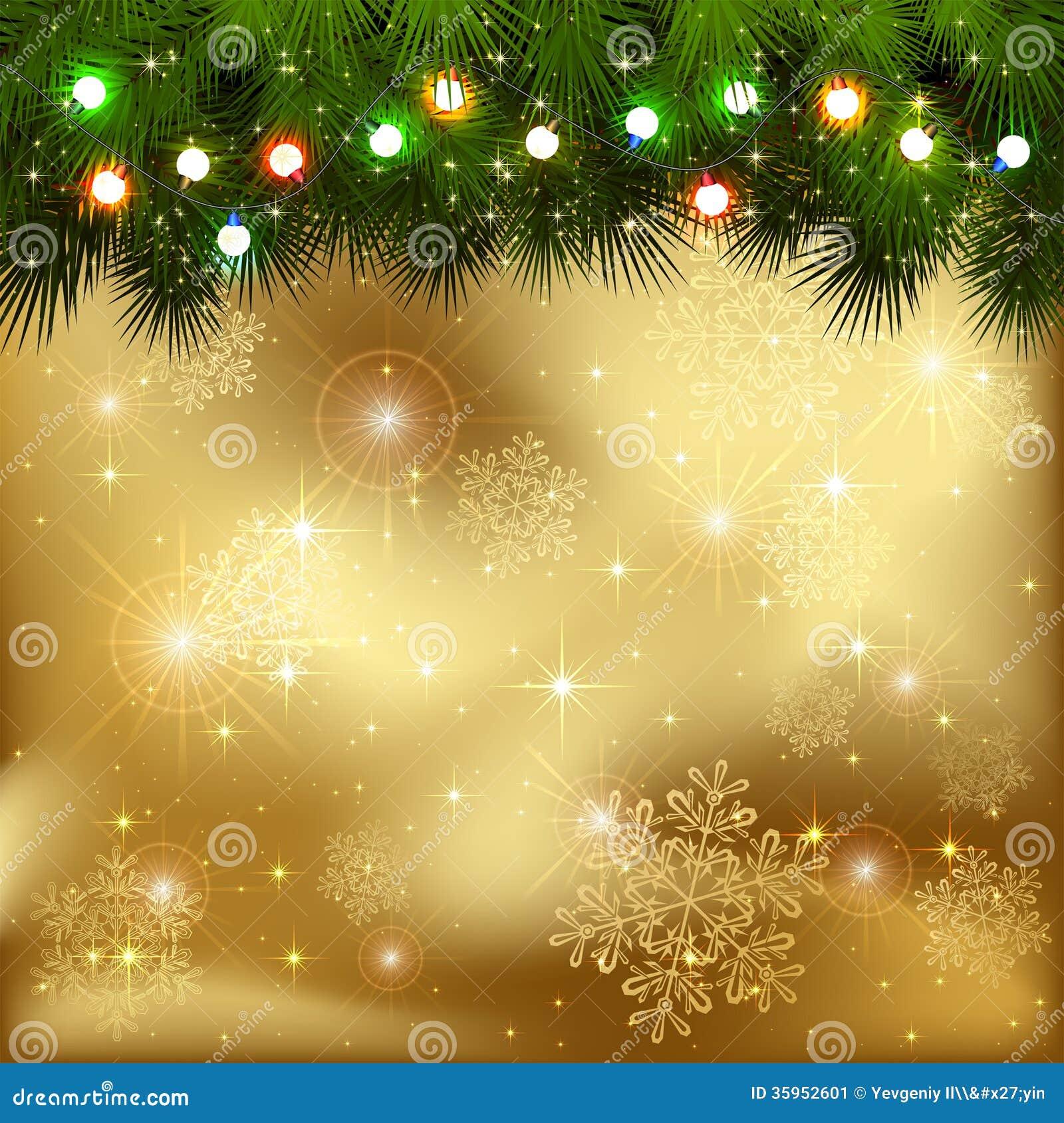 Guirnalda de la Navidad en fondo de oro