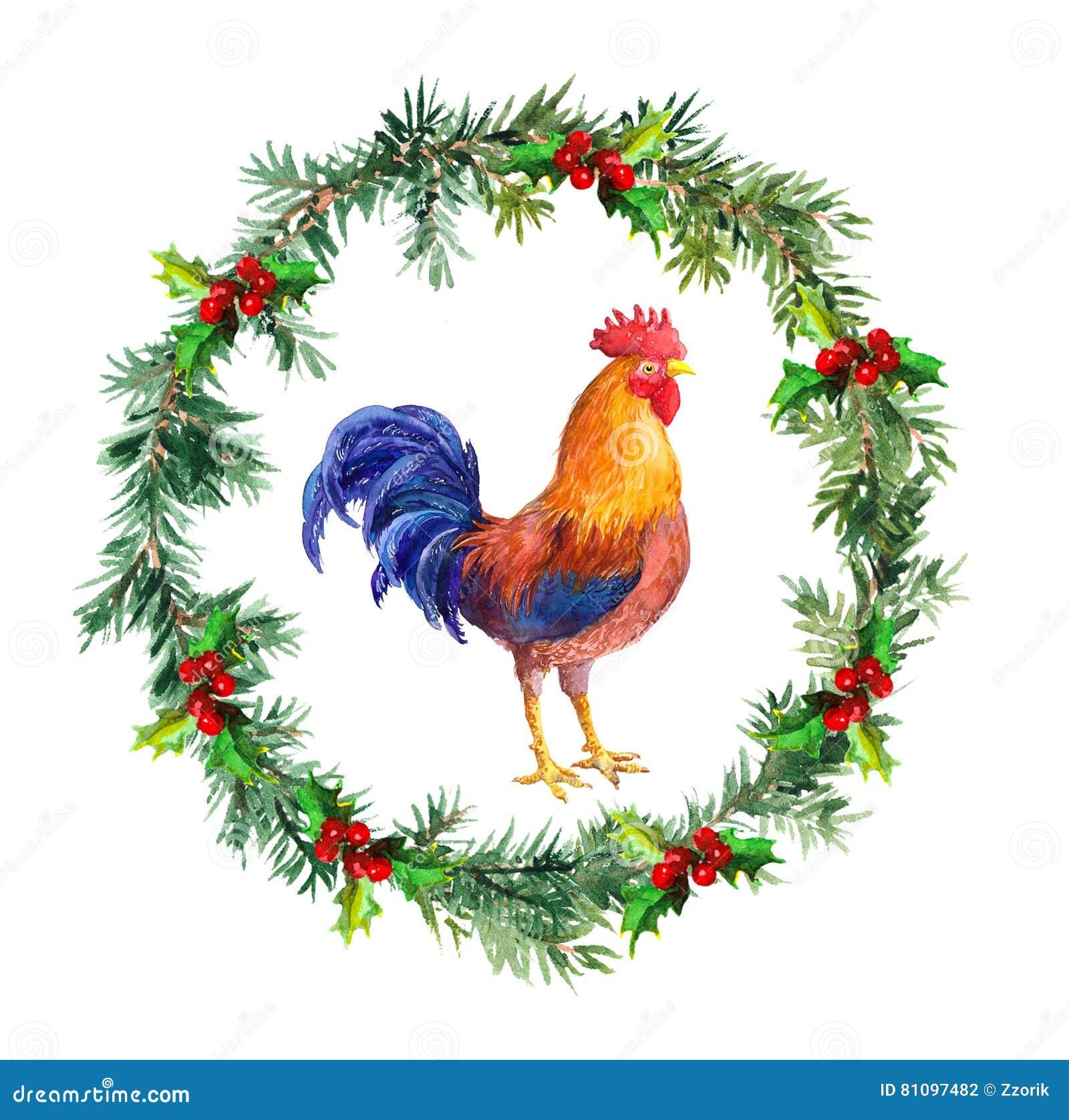 Guirnalda del Año Nuevo, gallo del gallo - símbolo del calendario chino 2017 Pájaro de la acuarela