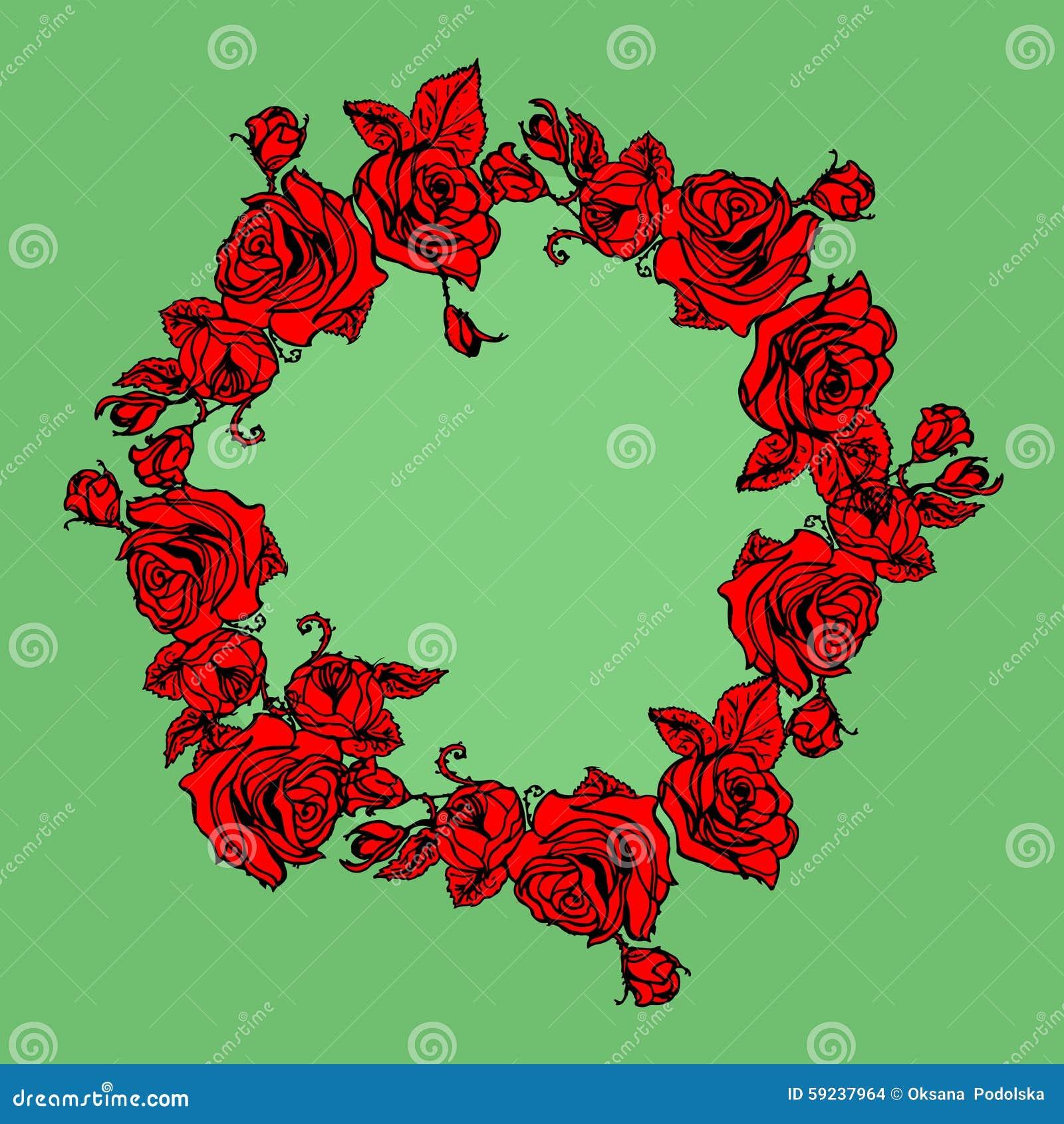 Download Guirnalda Del Ejemplo Con Las Rosas Rojas Ilustración del Vector - Ilustración de elegancia, color: 59237964