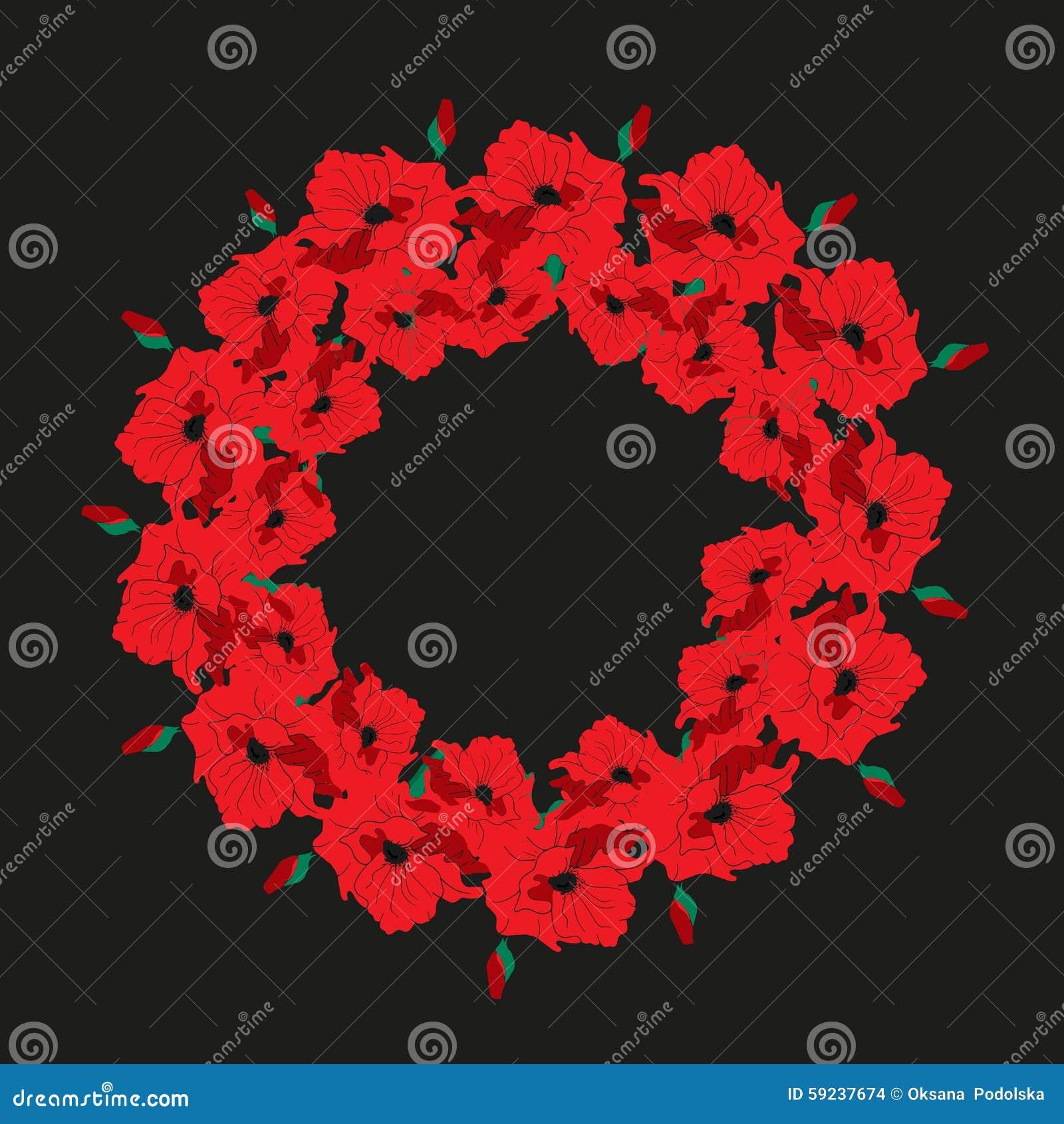 Download Guirnalda Del Ejemplo De Amapolas En Un Fondo Oscuro Ilustración del Vector - Ilustración de imagen, floral: 59237674