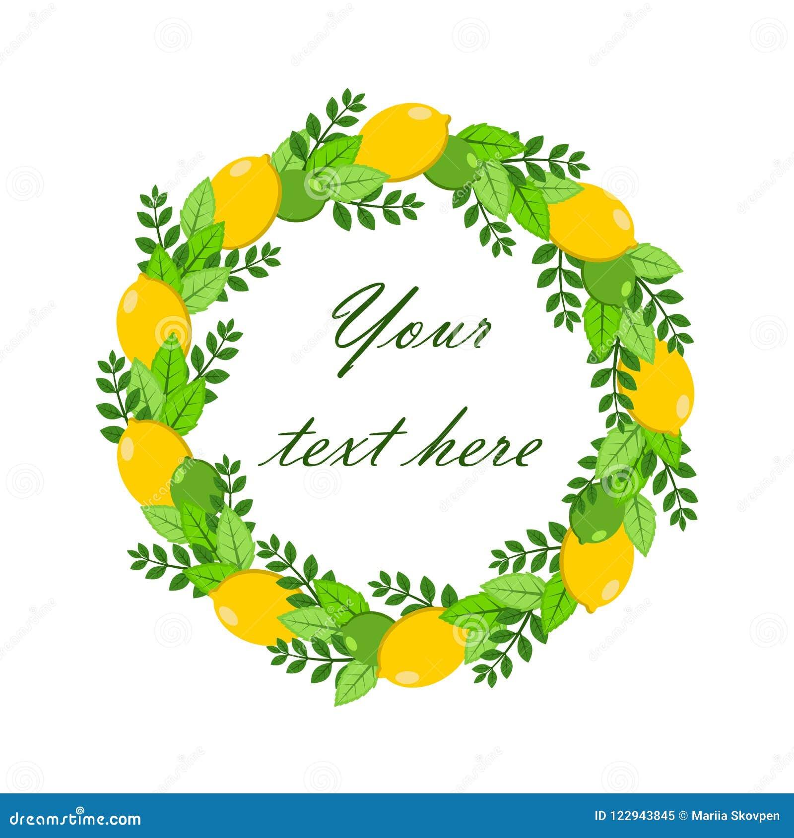 Guirnalda del ejemplo del vector del limón, de la cal y de las hojas Su texto en el centro Para el fondo, boda, cumpleaños, bande
