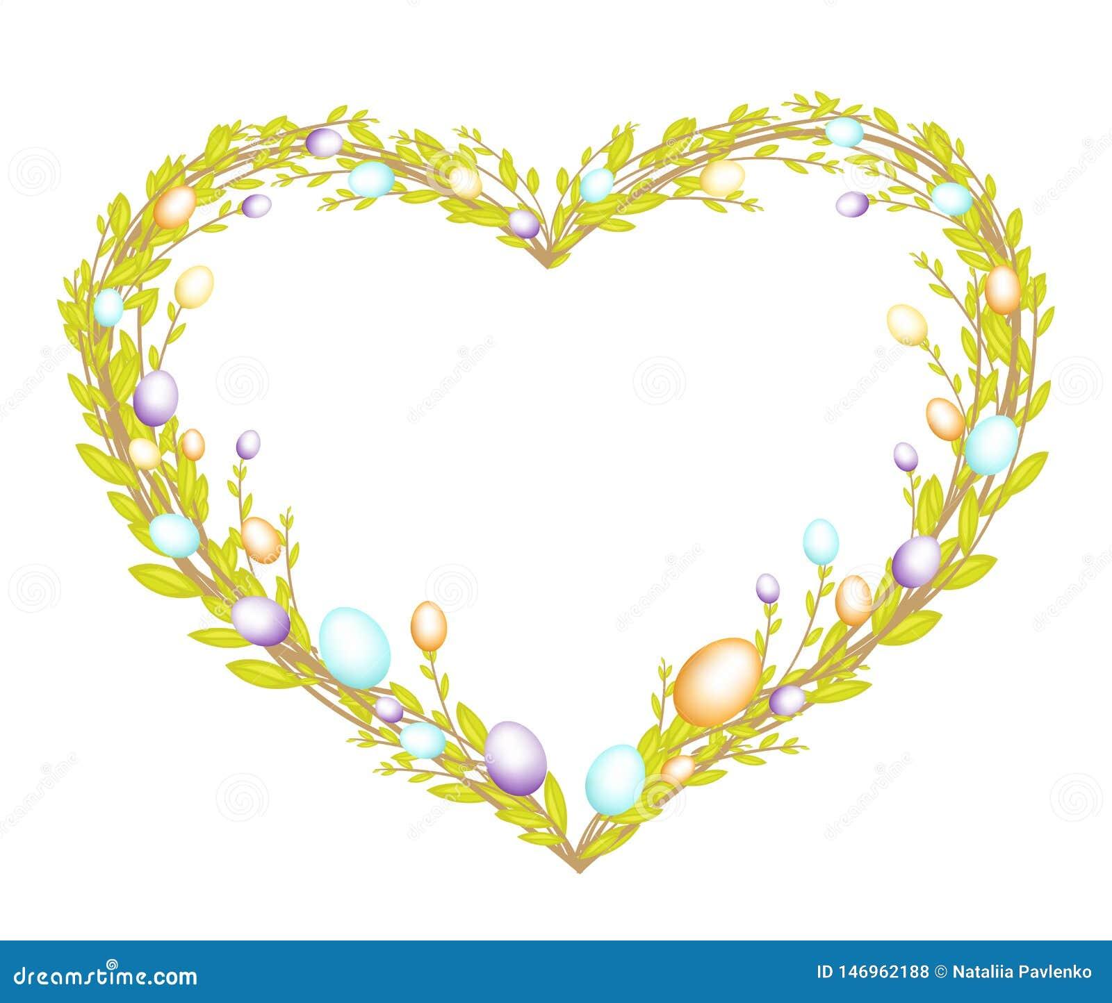 Guirnalda en forma de coraz?n hecha de ramas jovenes del sauce Adornado con Pascua pintó los huevos El s?mbolo de Pascua Ilustrac