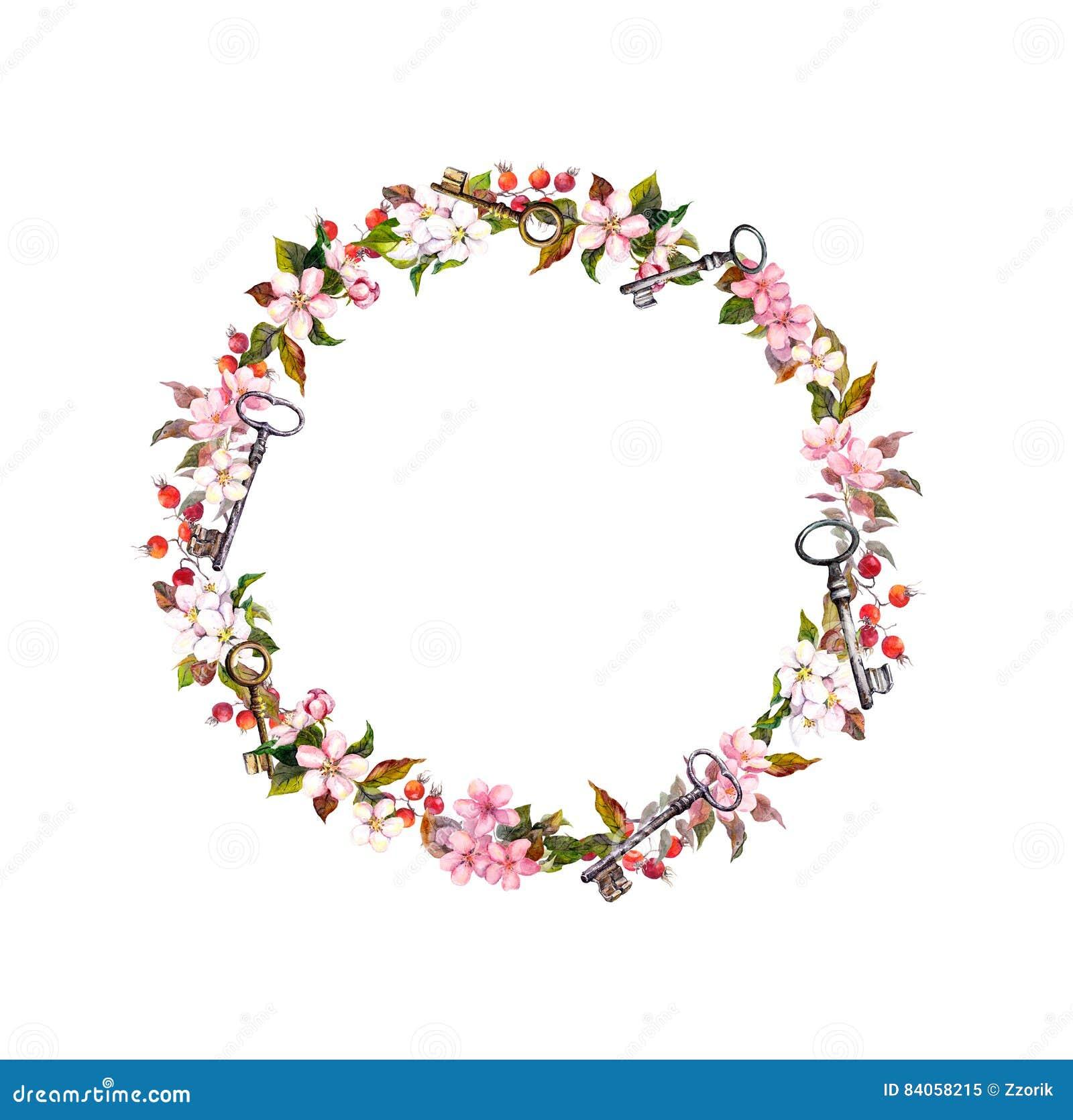 Guirnalda Floral Con Las Flores De La Primavera, Llaves Marco ...