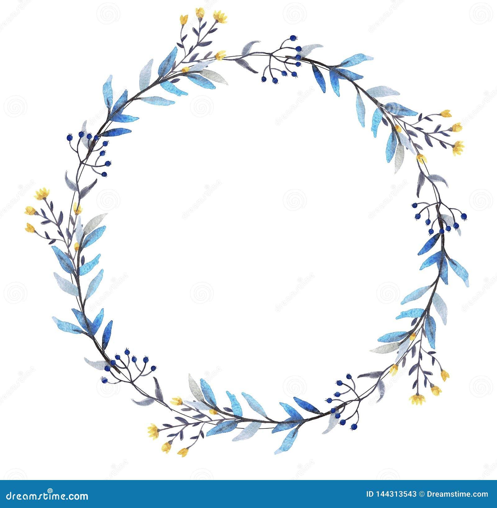 Guirnalda floral de la acuarela