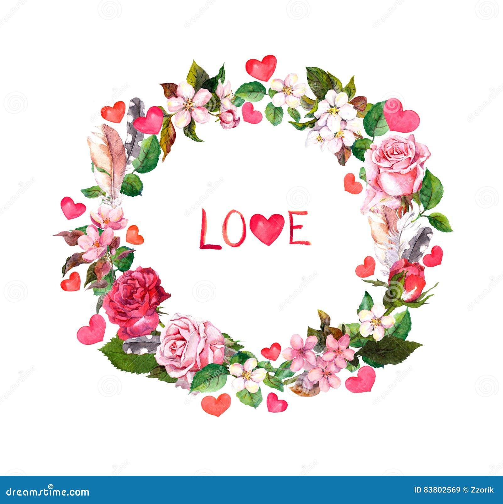 Guirnalda Floral Las Flores Las Plumas Los Corazones Y El Amor
