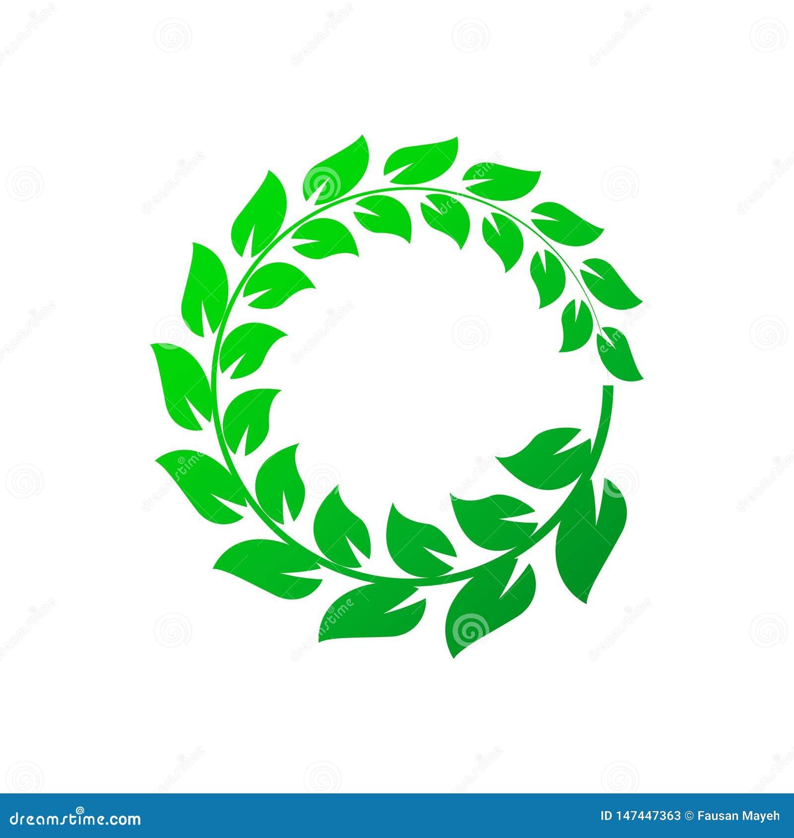 Guirnalda verde del laurel en el fondo blanco Ilustraci?n del vector