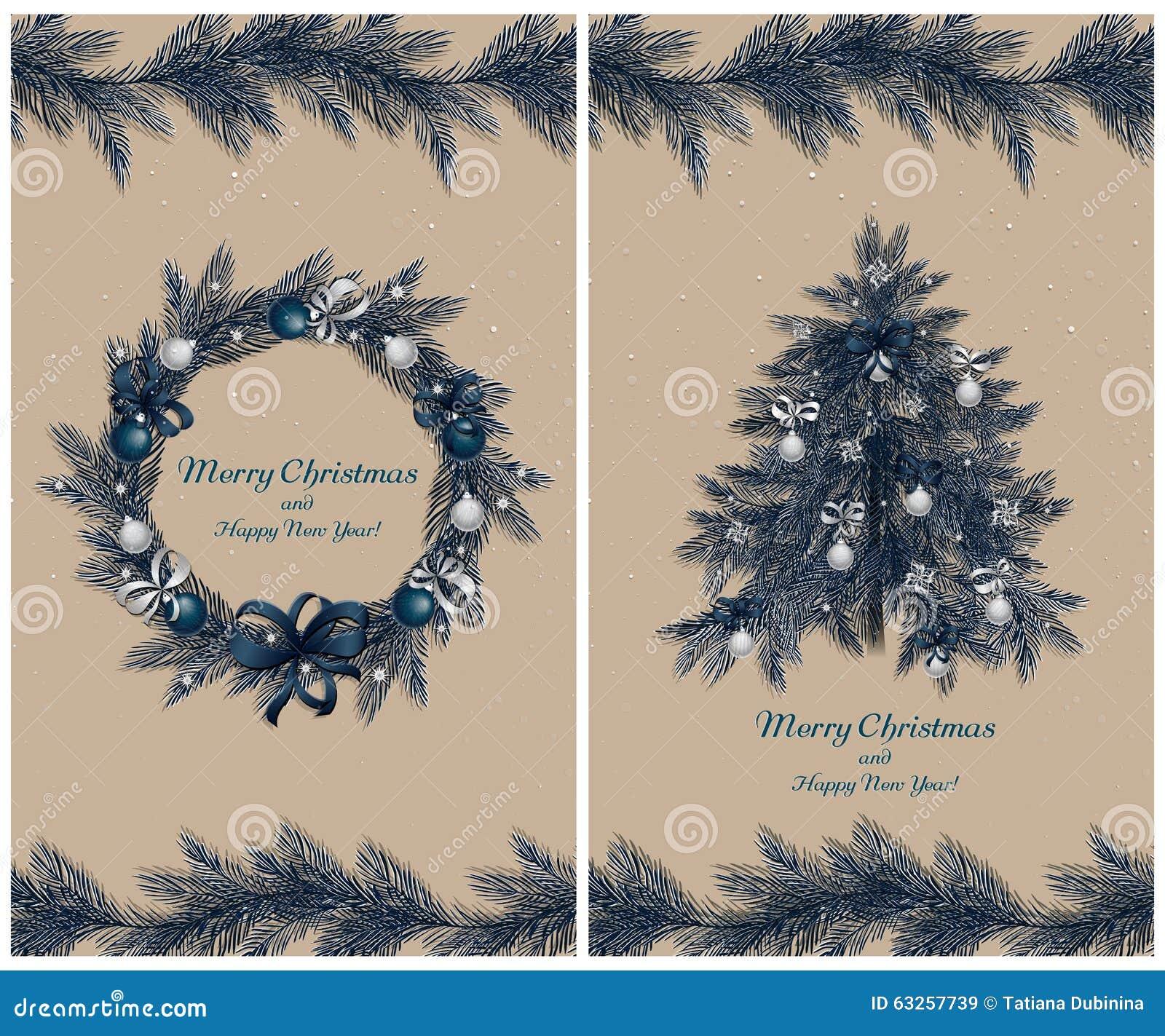 Guirnalda y árbol de la Navidad con las decoraciones: bolas, cintas y estrellas Sistema de dos tarjetas de felicitación