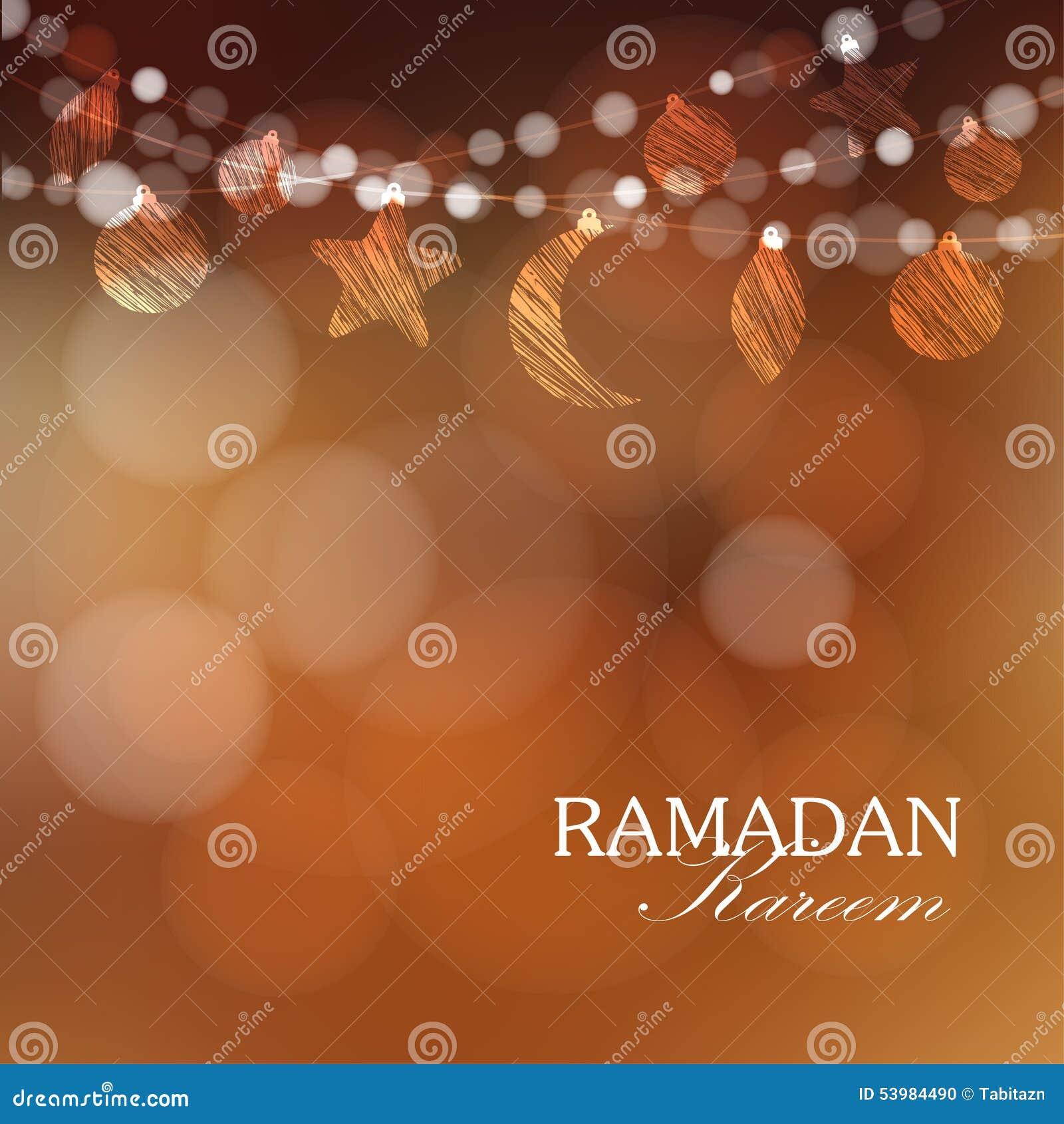 Guirnaldas con la luna, estrellas, luces, ejemplo del Ramadán
