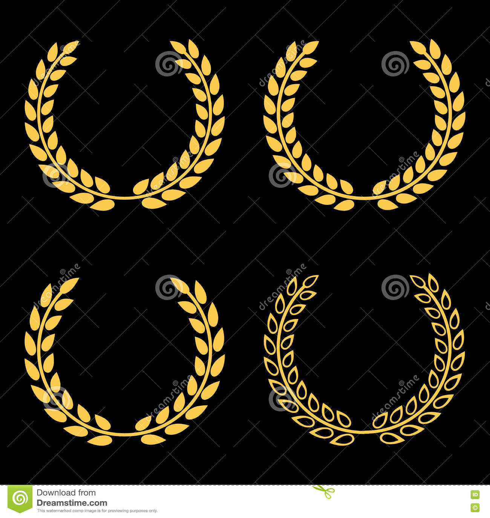 Guirnaldas de oro determinadas del laurel del vector