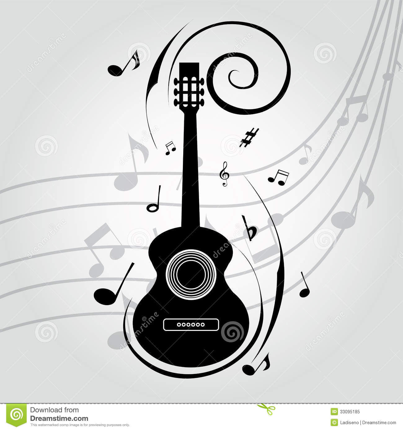 Abstract guitar silhouette on special music background.