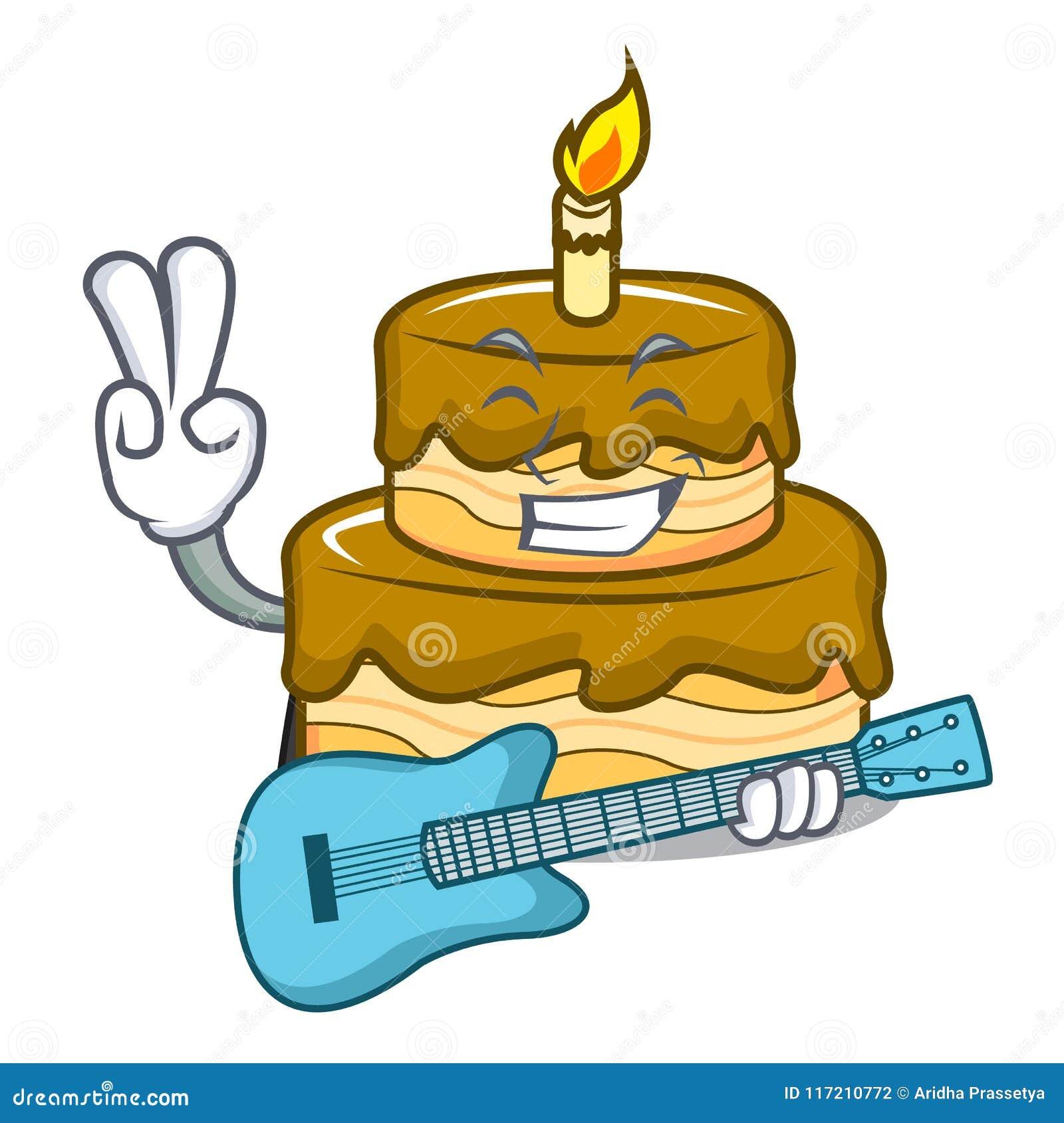 Enjoyable With Guitar Birthday Cake Mascot Cartoon Stock Vector Funny Birthday Cards Online Amentibdeldamsfinfo