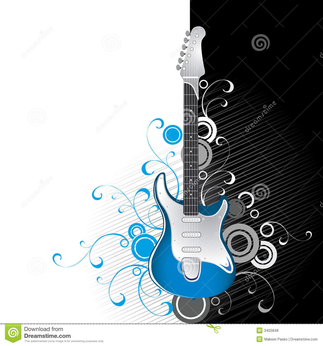 Guitar on black and white