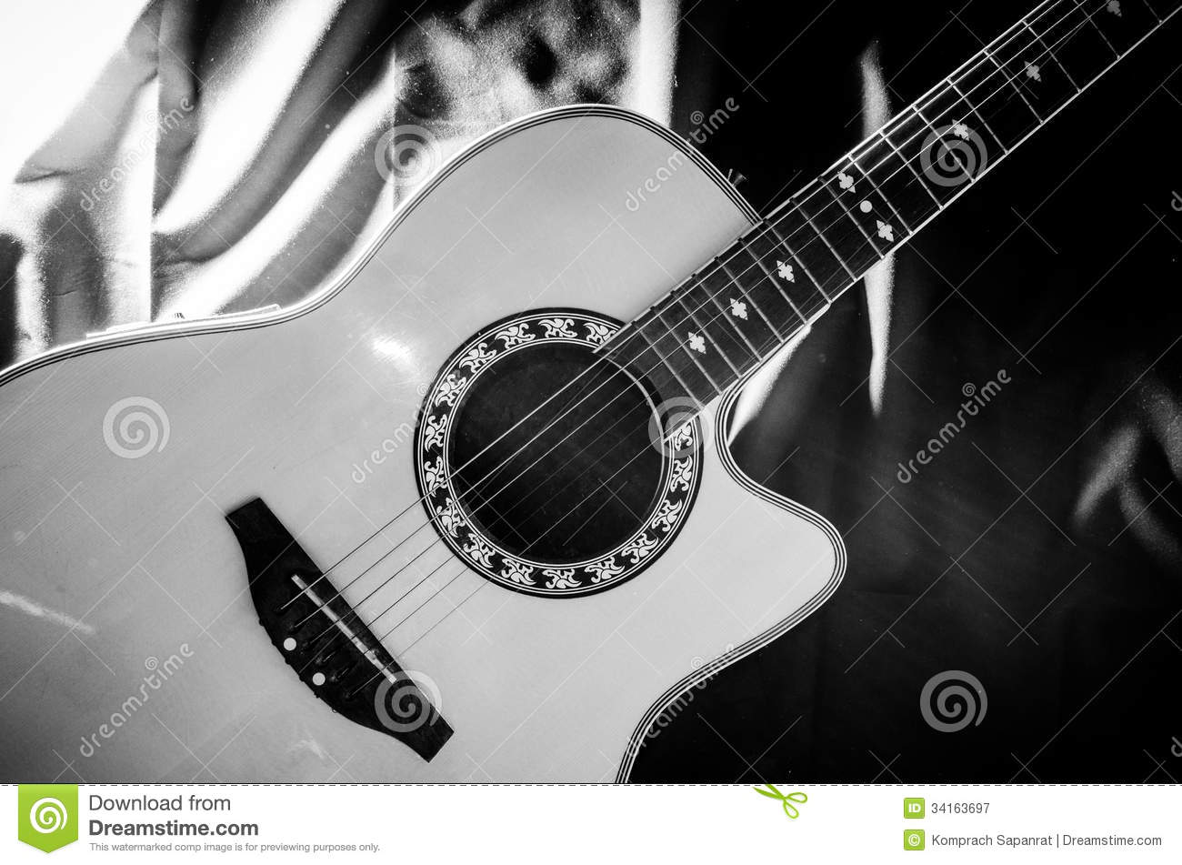 Guitar black and white stock image. Image of classical ...