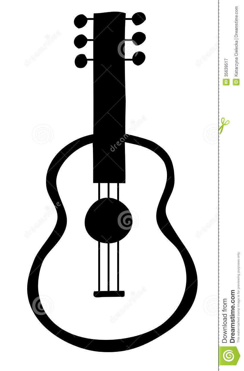 Black and white guitar with three strings.