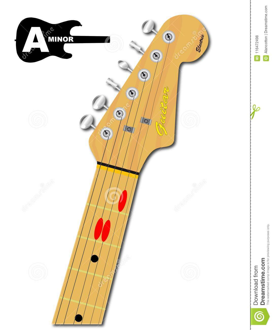 The Guitar Chord Of A Minor Stock Vector Illustration Of Chords