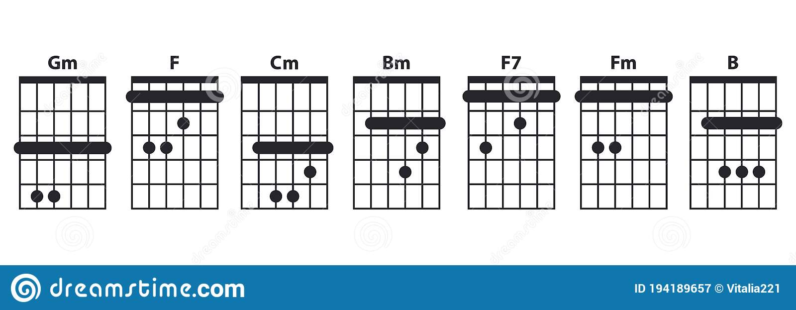 Guitar Chords Icon Set. Guitar Lesson Vector Illustration Isolated ...