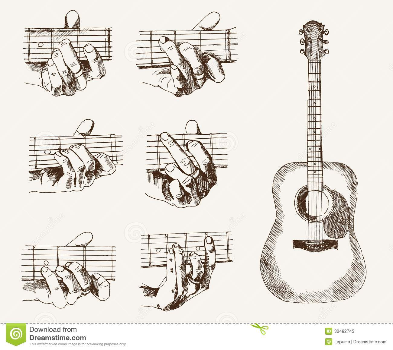 Guitar And Chords Stock Vector Illustration Of Collection 30482745