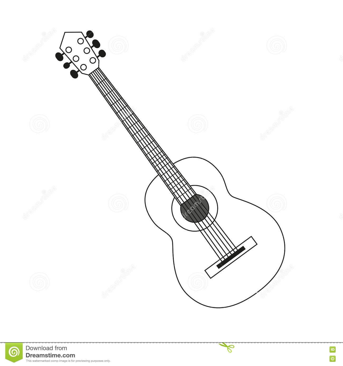 Vector illustration circuit outline of a guitar in black and white ...