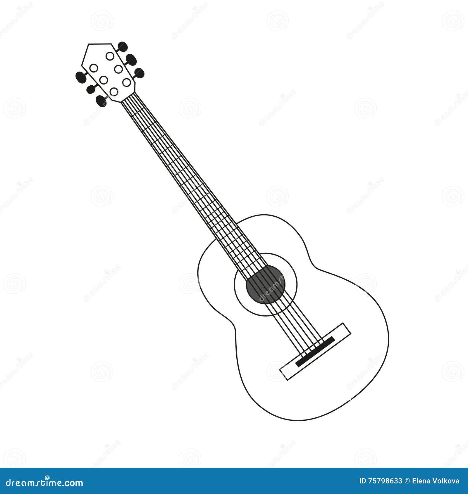 icon of acoustic guitar icon white contour on black of