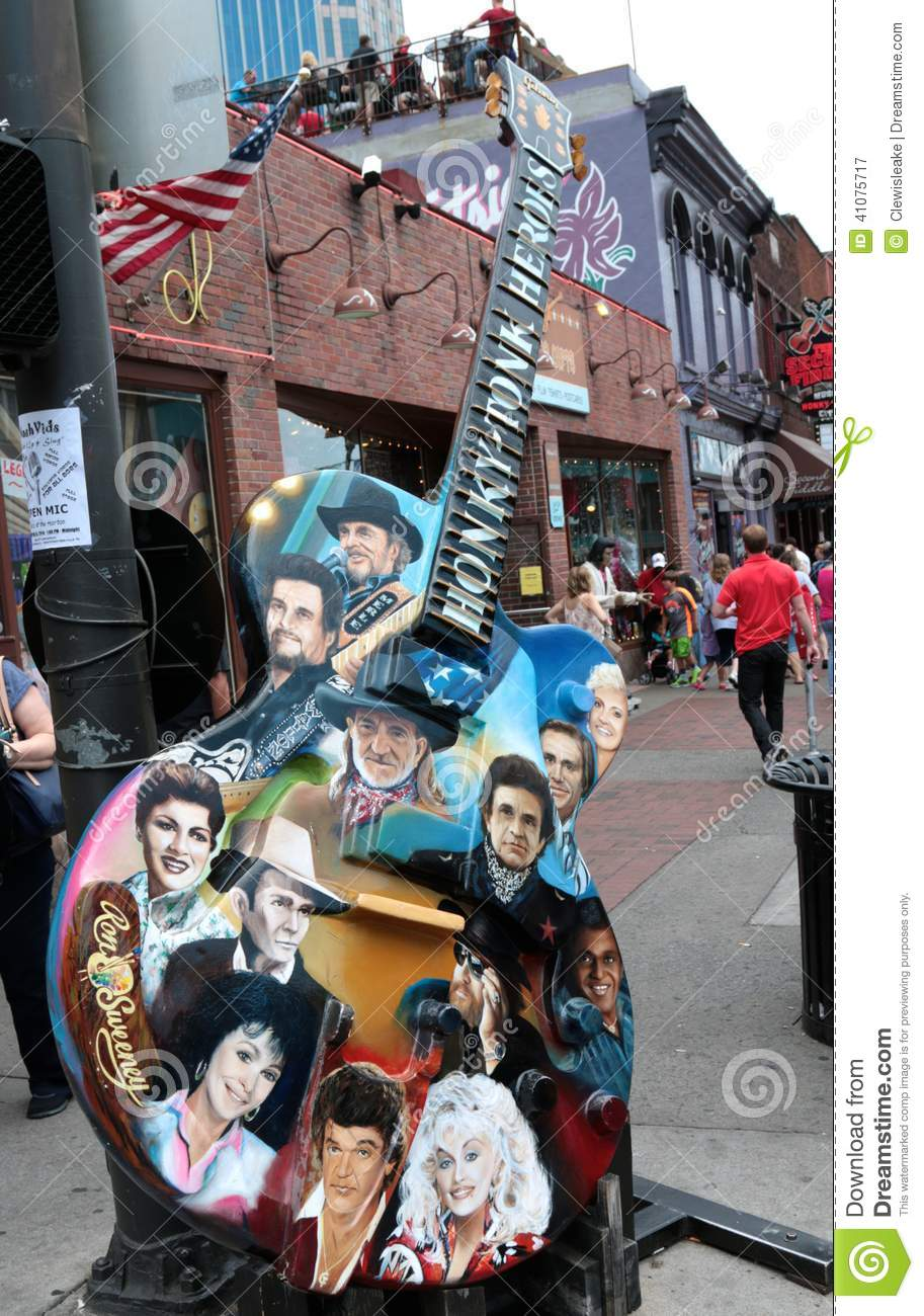 Guitar With Country Music Legends Faces Outside Of Legends