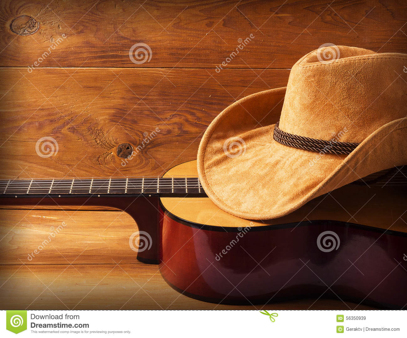Boots cowboy and hat and guitar photo catalog photo