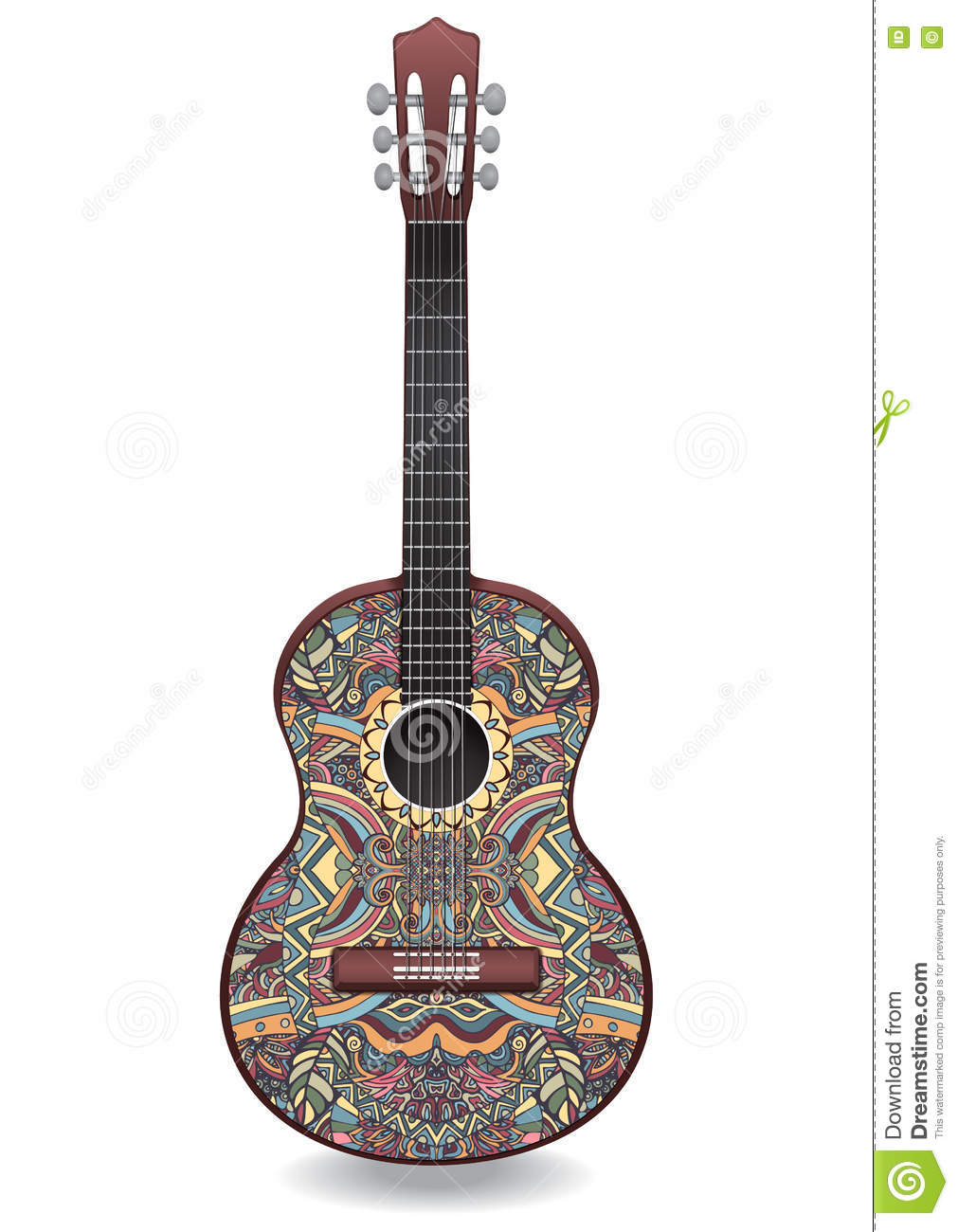 Musical instruments ornaments - Guitar Decorated With Ethnic Ornaments Design In The Style Of Boho Oriental Pattern