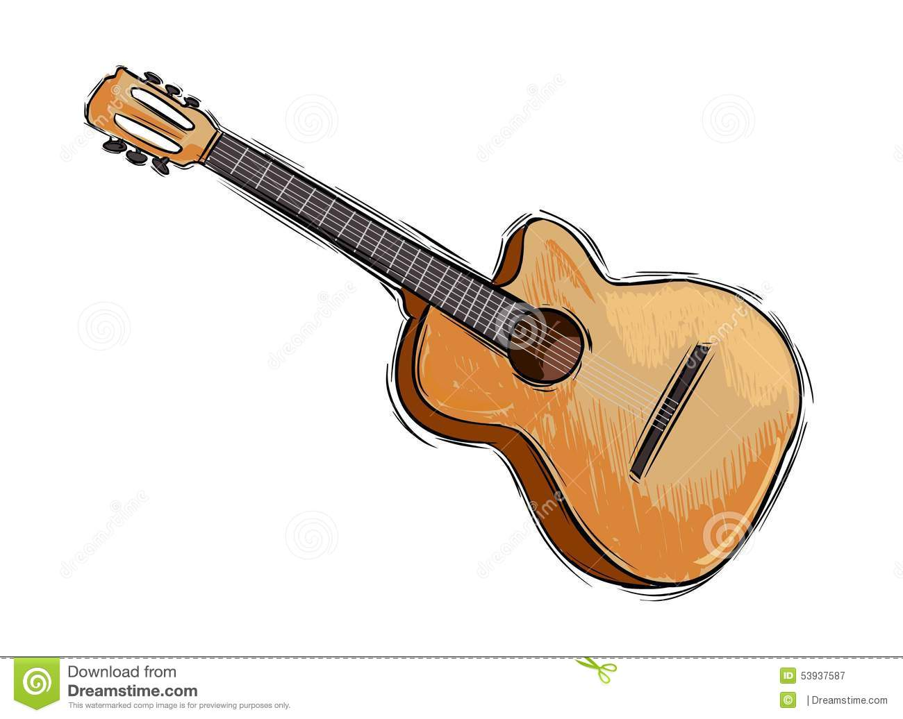 Guitar Drawing A Vector Image Illustration Royalty Free Stock Photography