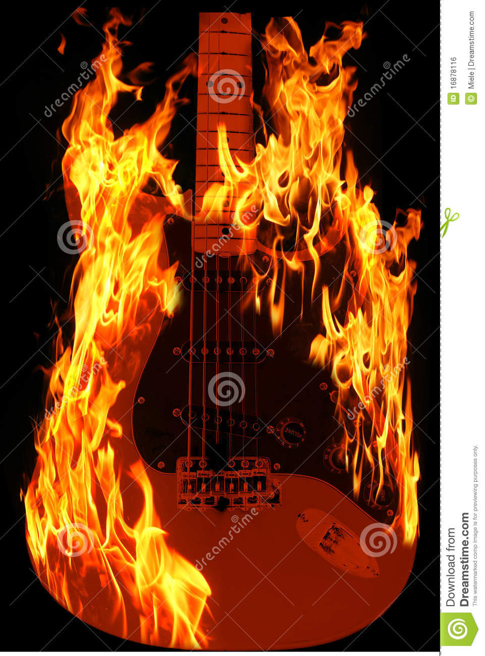 Guitar on fire stock photo. Image of artistic, classical ...