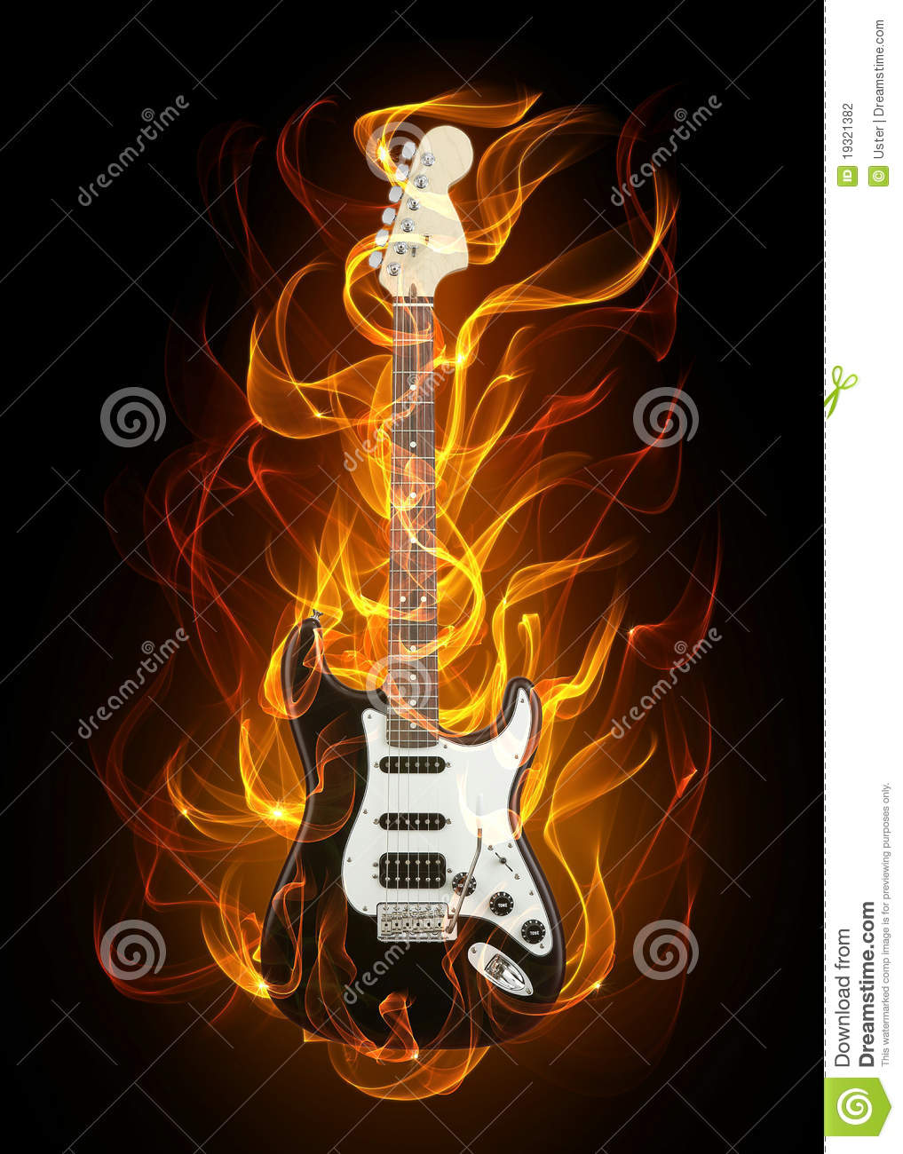 Guitar In Fire Stock Photo Image Of Electric Fiery