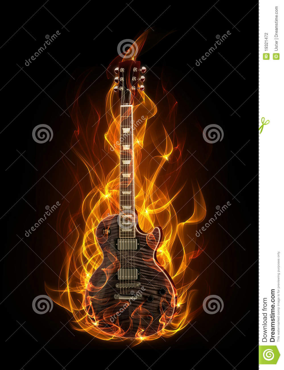 Black Electric Guitar With Flames Electric guitar in fire and