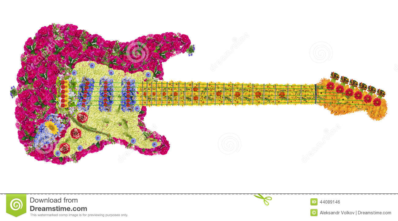 Guitar From Flowers Stock Photo - Image: 44089146