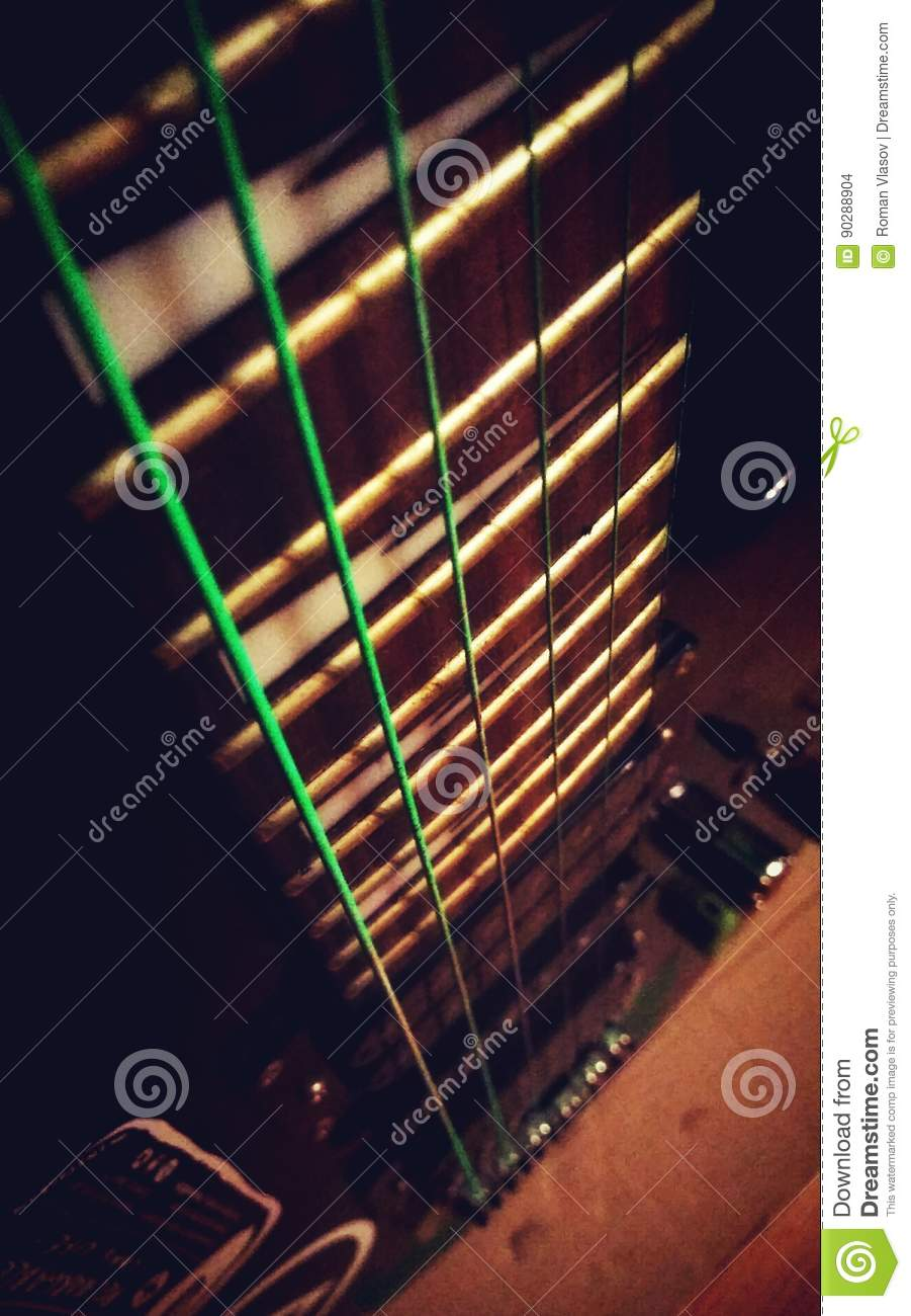 Guitar Stock Photo Image Of Green Opus Neon Chord 90288904