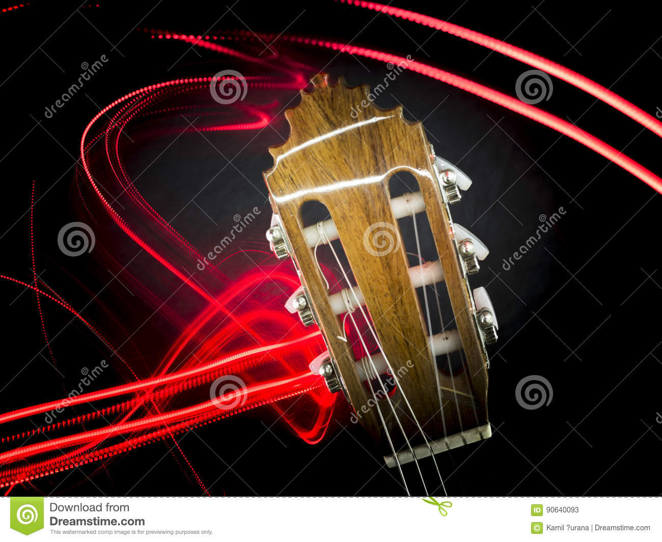 Guitar head and abstract red lights