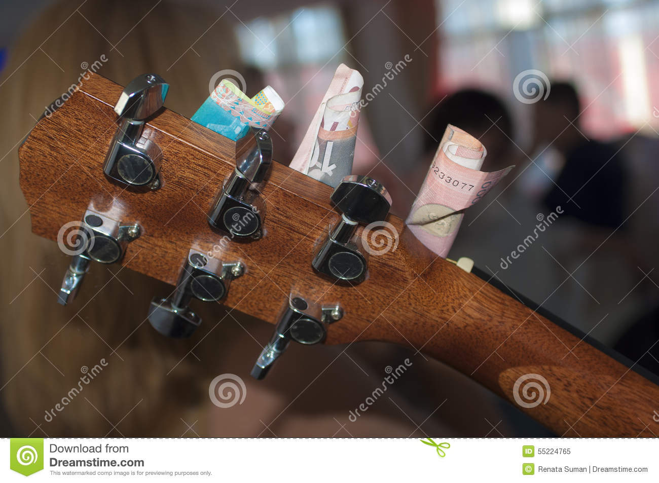 Guitar Head With Money Stock Image Image Of Band Head 55224765