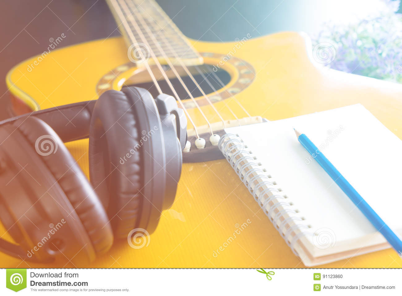Guitar Headphone notebook for songwriting