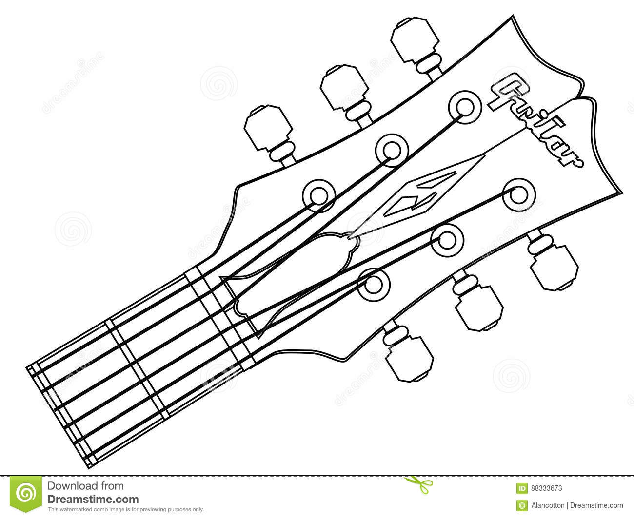 guitar headstock outline stock vector  illustration of